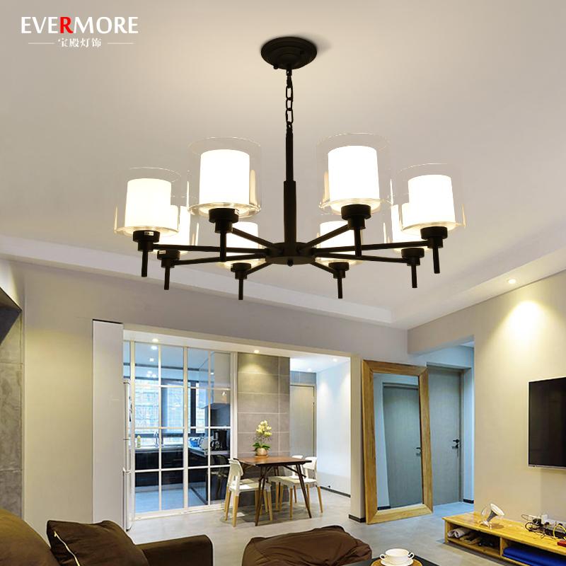 北欧简约客厅卧室吊灯现代创意铁艺餐厅灯简约乡村LED玻璃灯具