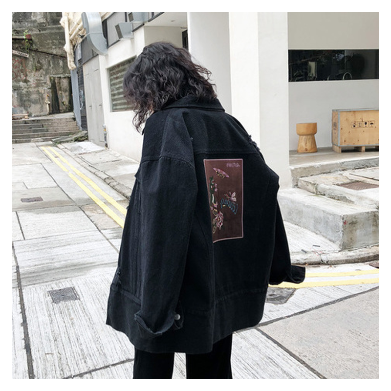 Jacket Womens 2019 new early spring black holed denim jacket Korean loose BF Harajuku jacket