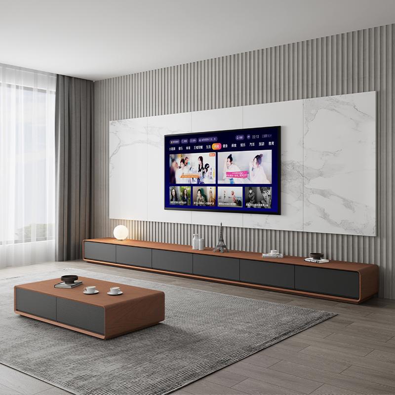北欧のテレビキャビネットの茶の組み合わせのスーツは現代簡単で客間の家具の小さい家型の黒色のテレビのキャビネットの戸棚を予約します。