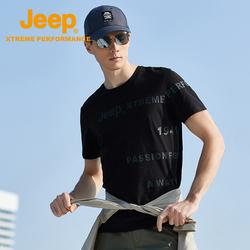 Jeep吉普户外运动速干T恤男士圆领印花时尚休闲上衣登山快干短袖