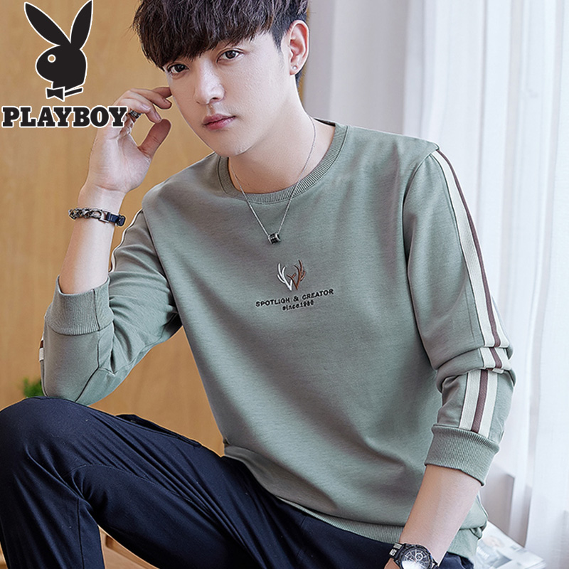 Playboy autumn sweater men's trend spring and autumn trend T-shirt long sleeve 2020 new youth autumn clothes autumn clothes