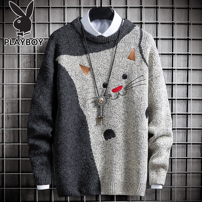 Playboy sweater men's autumn and winter Korean trend round neck bottoming shirt youth loose knit sweater line clothes