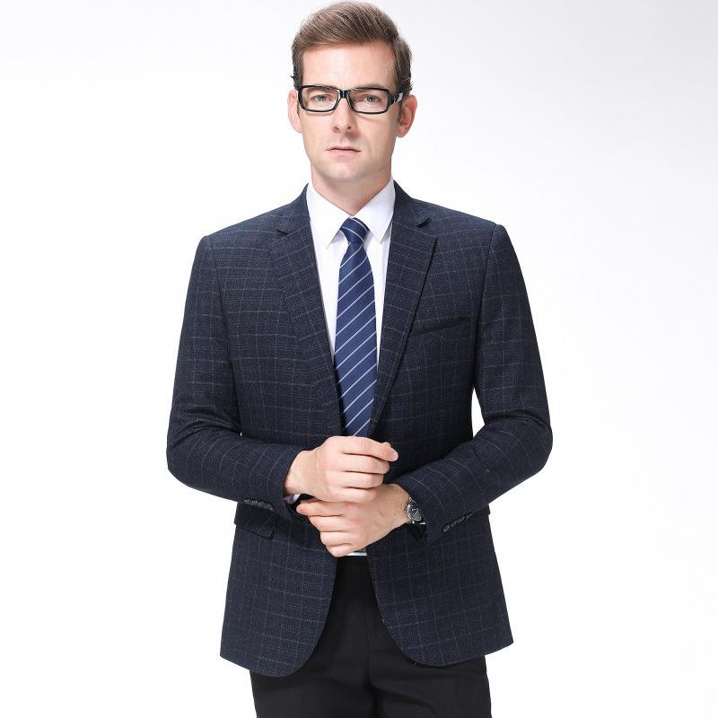 秋冬男士西服时尚商务羊毛单西装精品格子外套一件代发一粒双排扣
