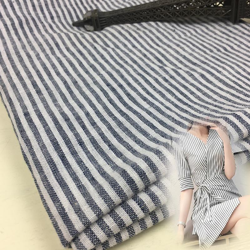 All cotton slub cotton hemp black and white stripe fabric childrens shirt childrens pants dress pure cotton handmade DIY fabric