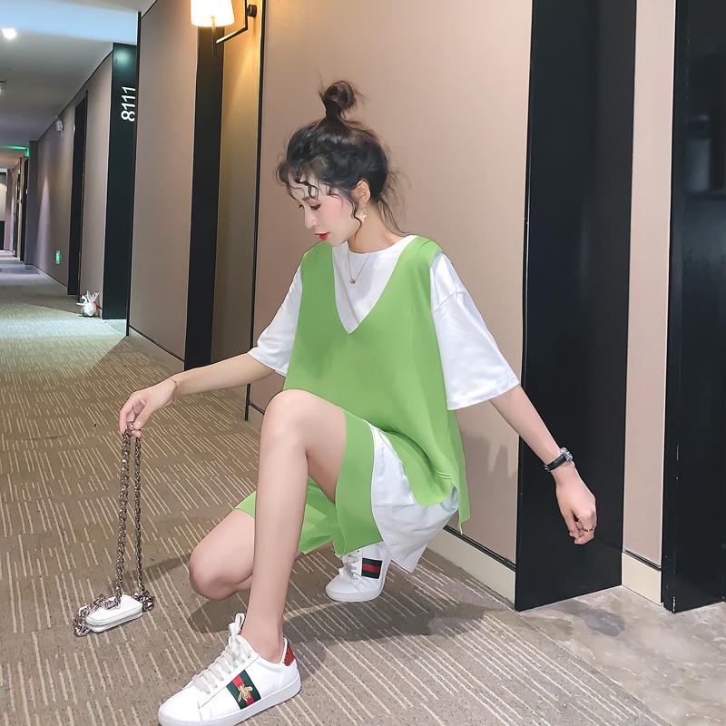 三件套时尚休闲套装女运动网红洋气很仙的牛油果绿宽松夏2019新款99.00元包邮
