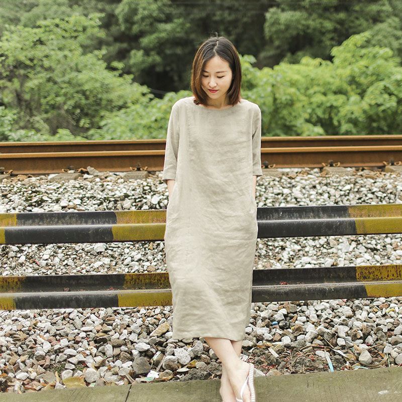 梭家原创夏季大码文艺亚麻连衣裙女中袖中长款裙子棉麻宽松袍子