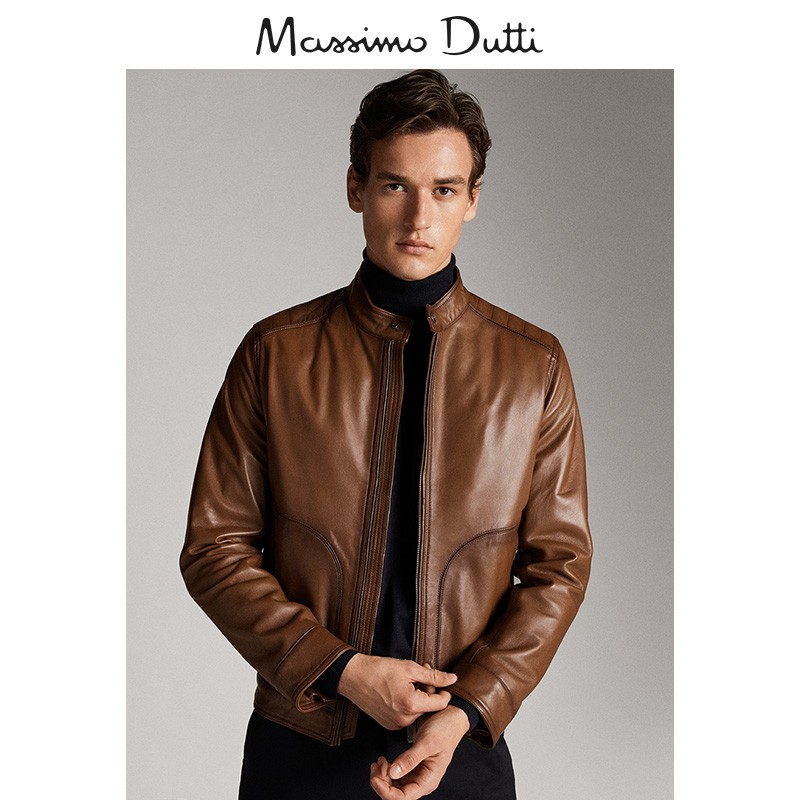 Massimo dutti men's early spring new line decoration Napa leather jacket 03321205778