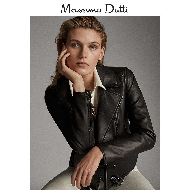 Massimo dutti new women's wear new autumn and winter belt black Napa Leather locomotive women's leather jacket 04702802800