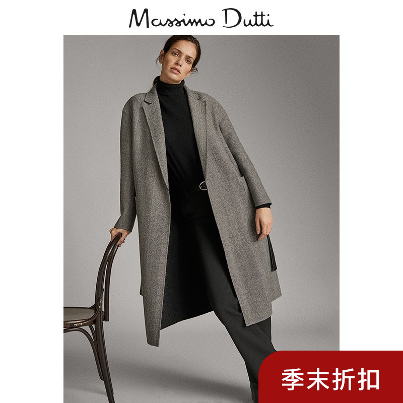 End of season discount Massimo dutti women's Handmade double face herringbone coat 06400502802