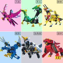 正版神兽金刚4四玩具6六合体套装天神地兽神兽金刚3变形雄狮麒麟2
