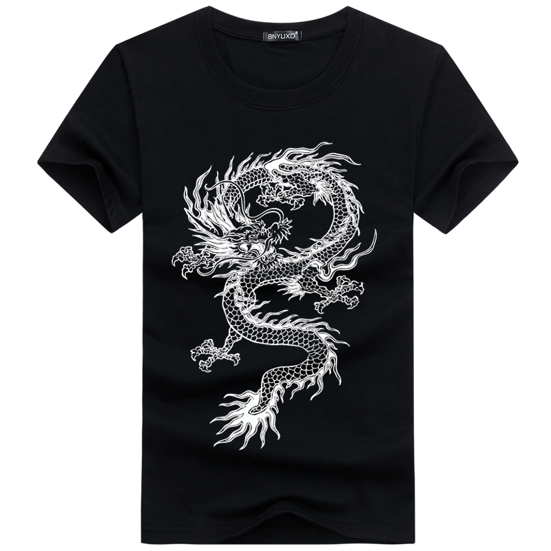 New personalized Chinese dragon print round neck mens short sleeve T-shirt loose large cotton summer fat mens fashion T-shirt