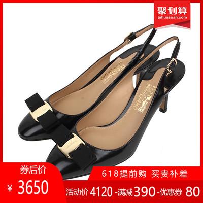 正品FERRAGAMO/菲拉格慕女鞋真皮高跟鞋浅口一字式扣带凉鞋SS