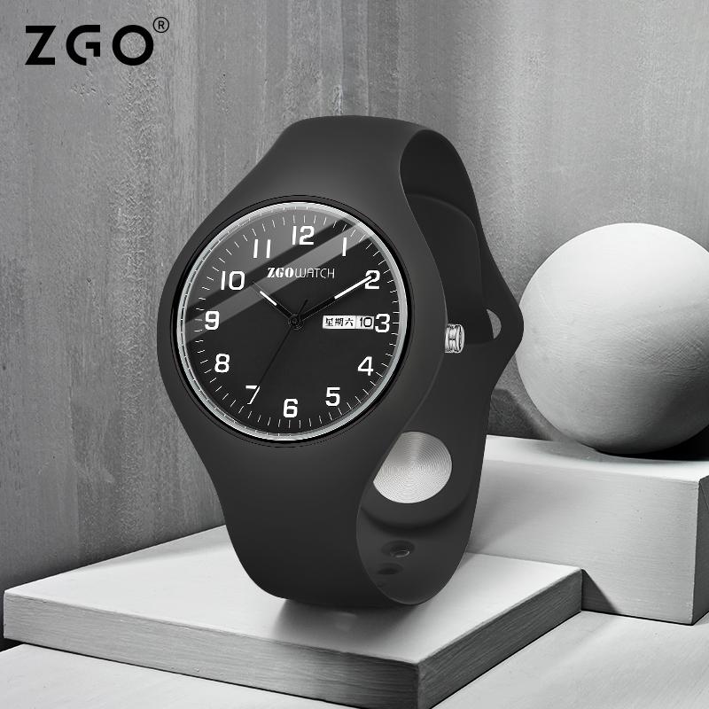 正港zgo大学生手表男简约中学生青少年考试指针式橡胶带硅胶运动