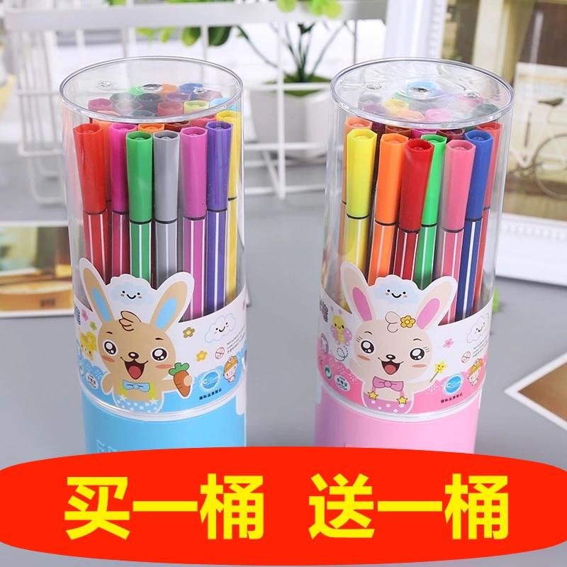 买一送一可水洗水彩笔桶装儿童幼儿园小学生画画36色彩色水笔无毒 Изображение 1