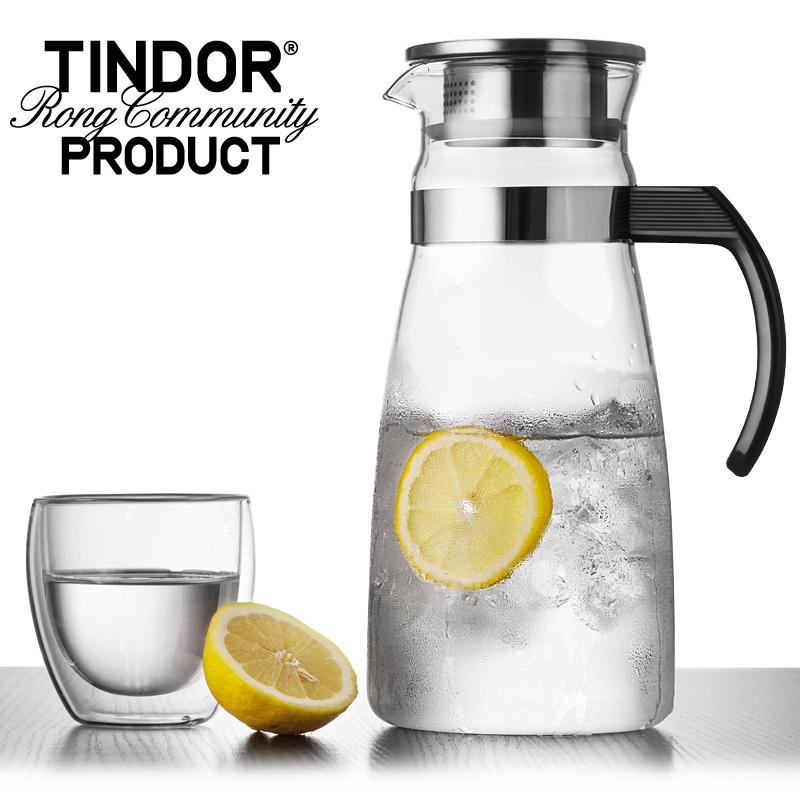田代 tindor耐熱透明玻璃冷水壺 大容量水具涼水壺水杯套裝果汁壺