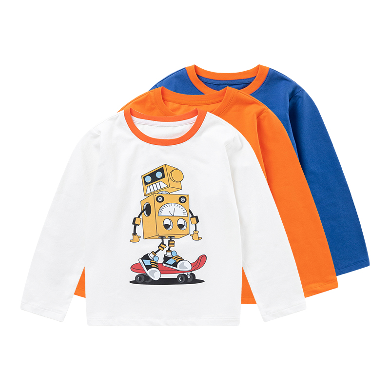 Capapp childrens wear boys long sleeve T-shirt 2021 spring and autumn new cartoon printed cotton bottomed shirt casual and versatile