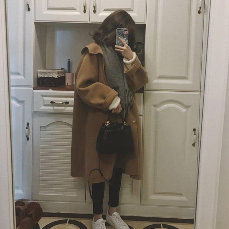 双面呢大衣女 a字连帽小个子东大门19新款牛油果绿中长款斗篷外套