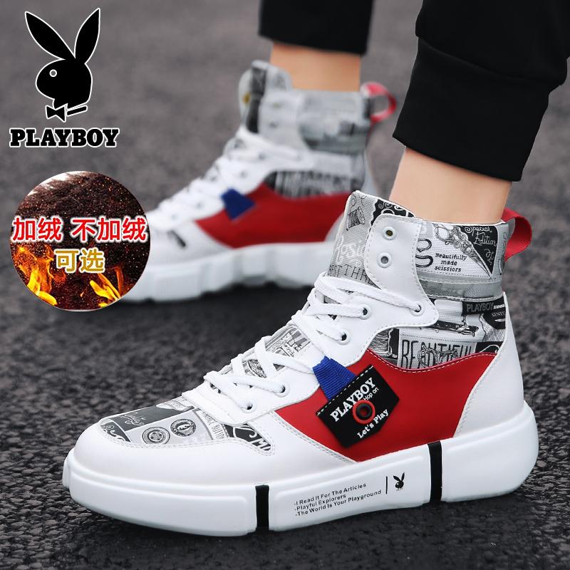 Playboy mens shoes winter warm plush shoes mens versatile casual cotton shoes fashion high top shoes 2019 NEW