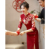 Toast dress bride Chinese style 2021 new wine red long cheongsam show Wo suit wedding thank you banquet dress autumn