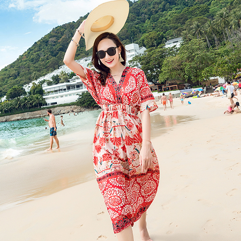 Thai style 2018 new Chiffon slim dress Bohemian long dress seaside resort beach skirt Fairy