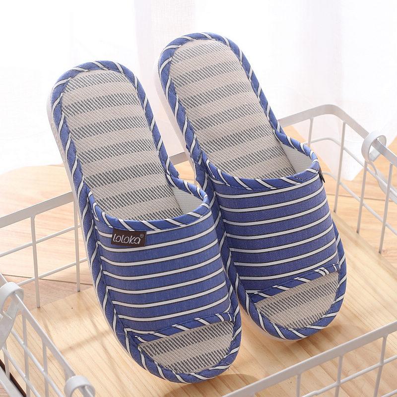 10月20日最新优惠路路佳拖鞋男夏春秋家用防滑亚麻拖鞋居家室内棉麻布凉拖男士托鞋