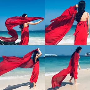 丝巾女韩版超大围巾百搭青海湖纱巾大红长款海边沙滩巾夏防晒披肩