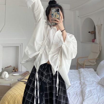 LOSVLUE 沉入深蓝 / 夏季ZUI特别的衬衫!设计感抽绳白色衬衫女