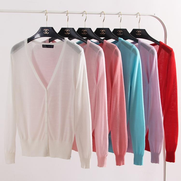 夏季超薄短款外搭大码空调衫防晒衣薄款长袖女针织衫开衫纯色外套