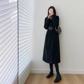 来思诗LAISS 赫本风毛呢外套女秋冬季韩版气质加厚中长款呢子大衣