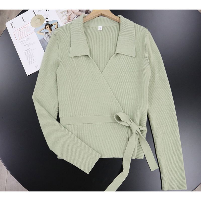 OS style autumn 2020 new light green wrapped rib cardigan long sleeve Lapel ladys T-shirt casual top