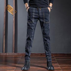 高端条纹休闲裤男修身小脚2020秋冬季弹力韩版潮流蓝色男士长裤子