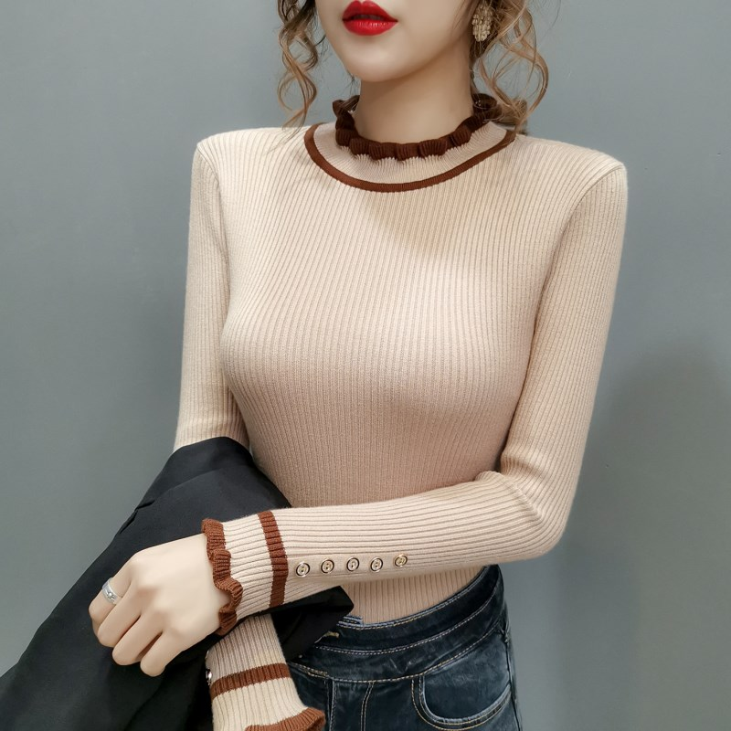 Ear edge half high collar bottom coat 2019 winter new long sleeve button Pullover Sweater womens top
