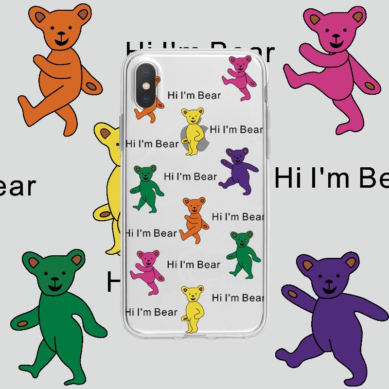 金智妮同款苹果7手机壳iPhoneXS彩色小熊MAX透明8Plus防摔XR软套6