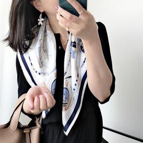 欧美风春夏新款时尚65CM蚕丝中方巾 优雅气质真丝丝巾围巾披肩女