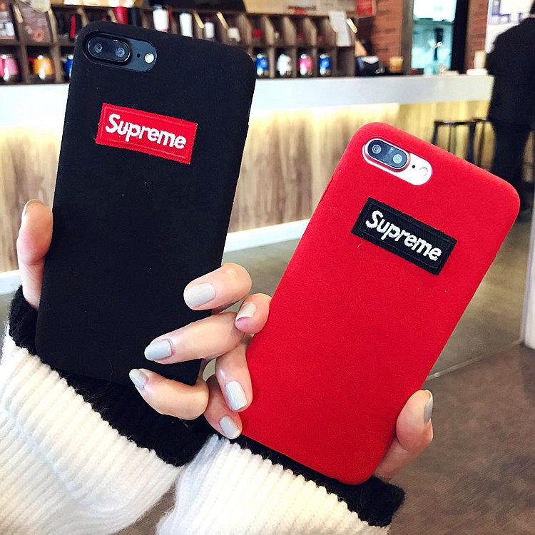 冬季毛绒iPhonex手机壳6s潮牌情侣苹果7plus大气韩国红色8p潮男女