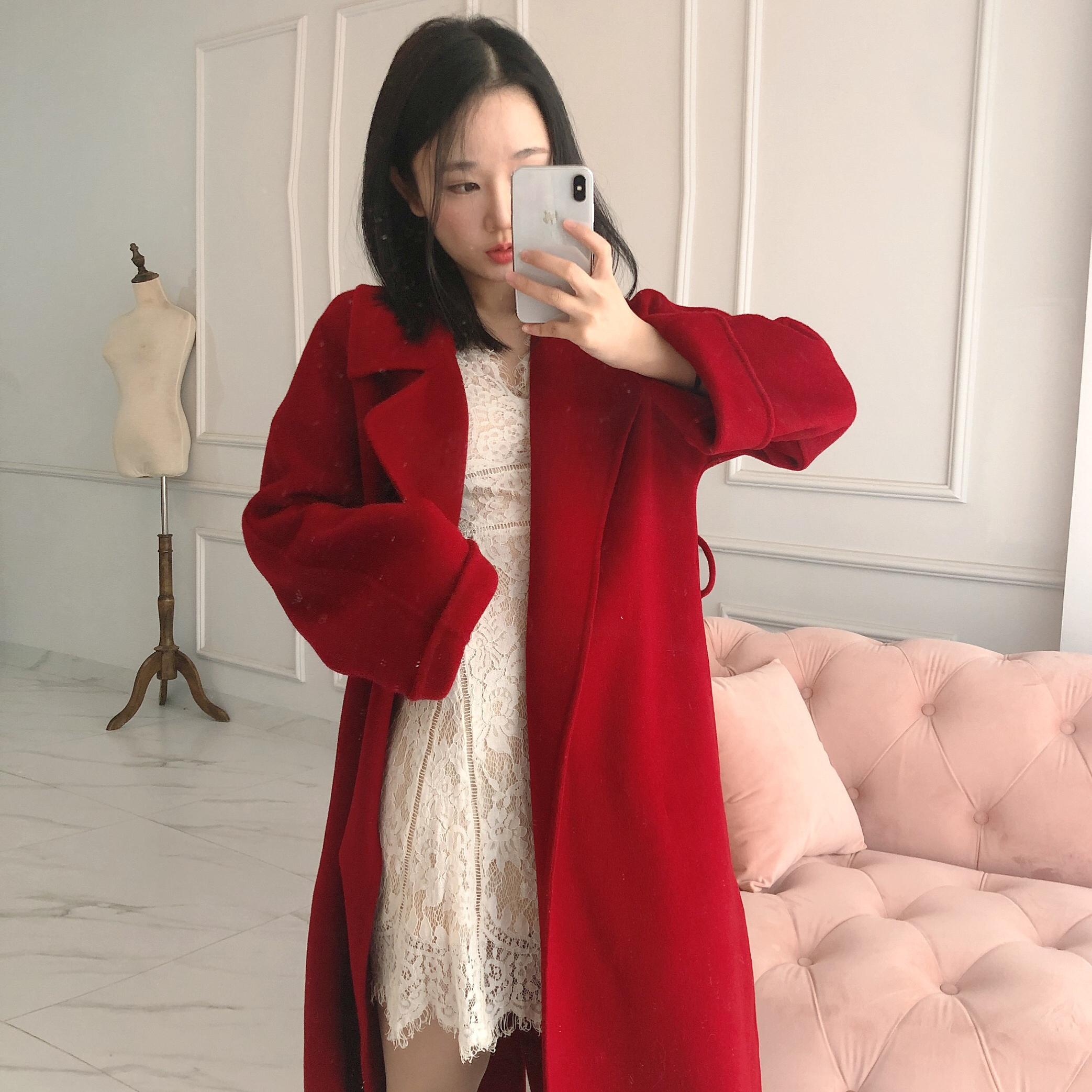 2019年结婚秋冬正红色双面羊绒大衣女毛呢优雅外套女中长款呢子