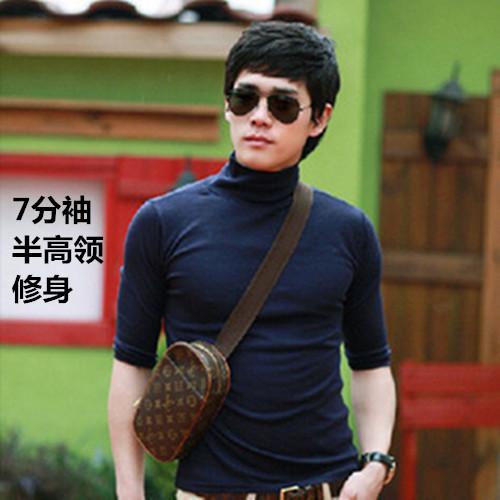 男士修身7分袖t恤纯棉中半高领打底衫中袖上衣潮流纯色半袖体恤秋