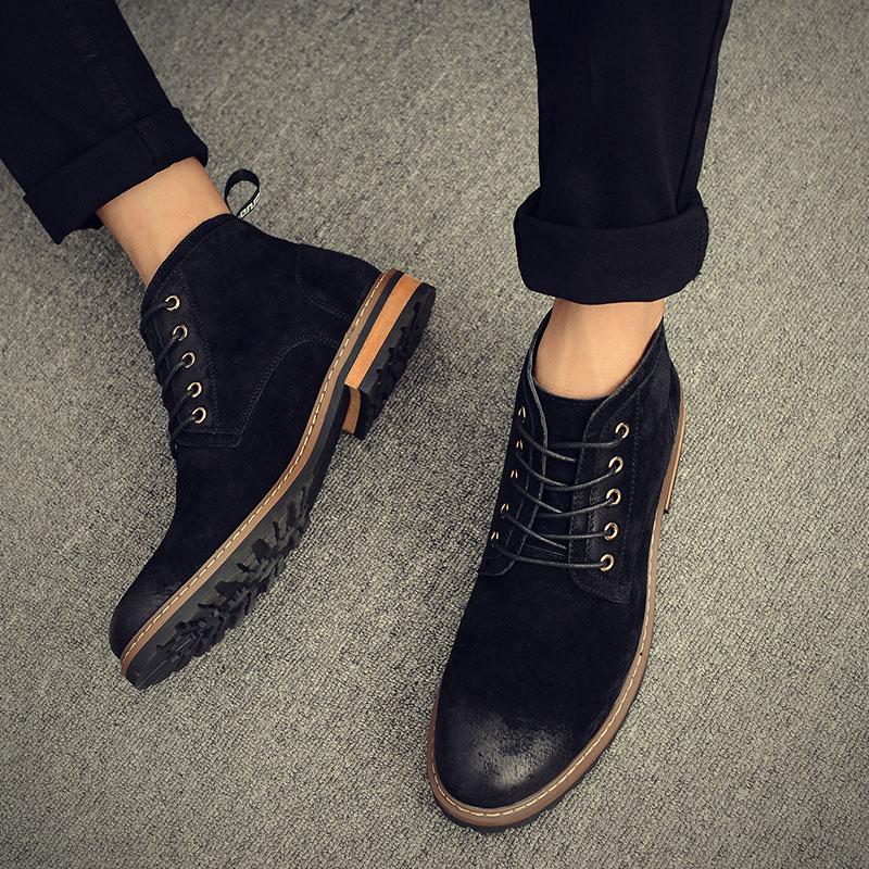 意威曼马丁靴男英伦复古圆头男士短靴工装靴真皮男靴子冬季高帮鞋