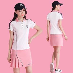 高尔夫女装套装韩国夏季时尚羽毛球网球服套装短裙高尔夫球服装女