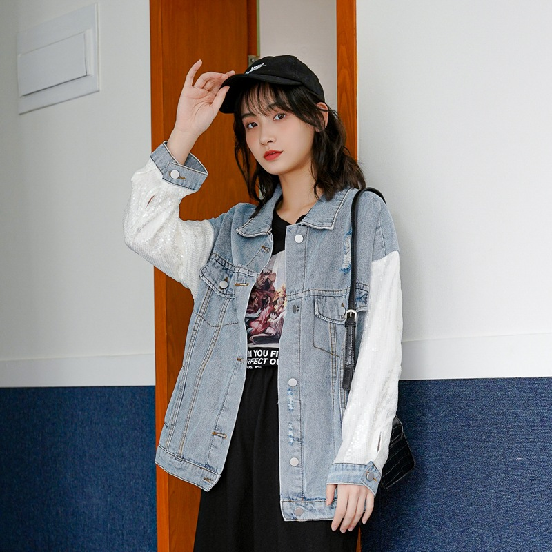 Early spring 2020 new Korean retro fashionable Sequin splicing sleeve denim coat women long sleeve student Jacket Top