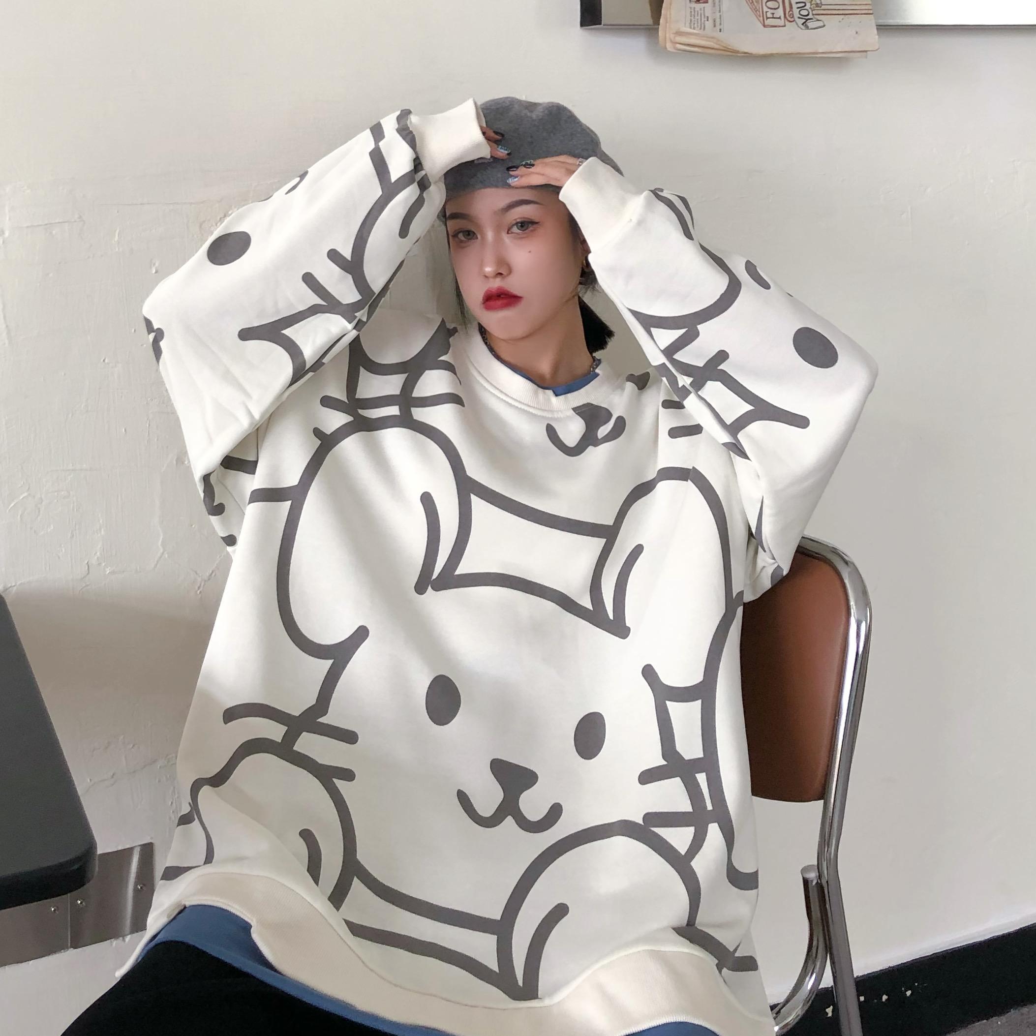 2021新款秋季薄款港风甜美创意时尚卫衣女长袖t恤610A-2-Y200-P40