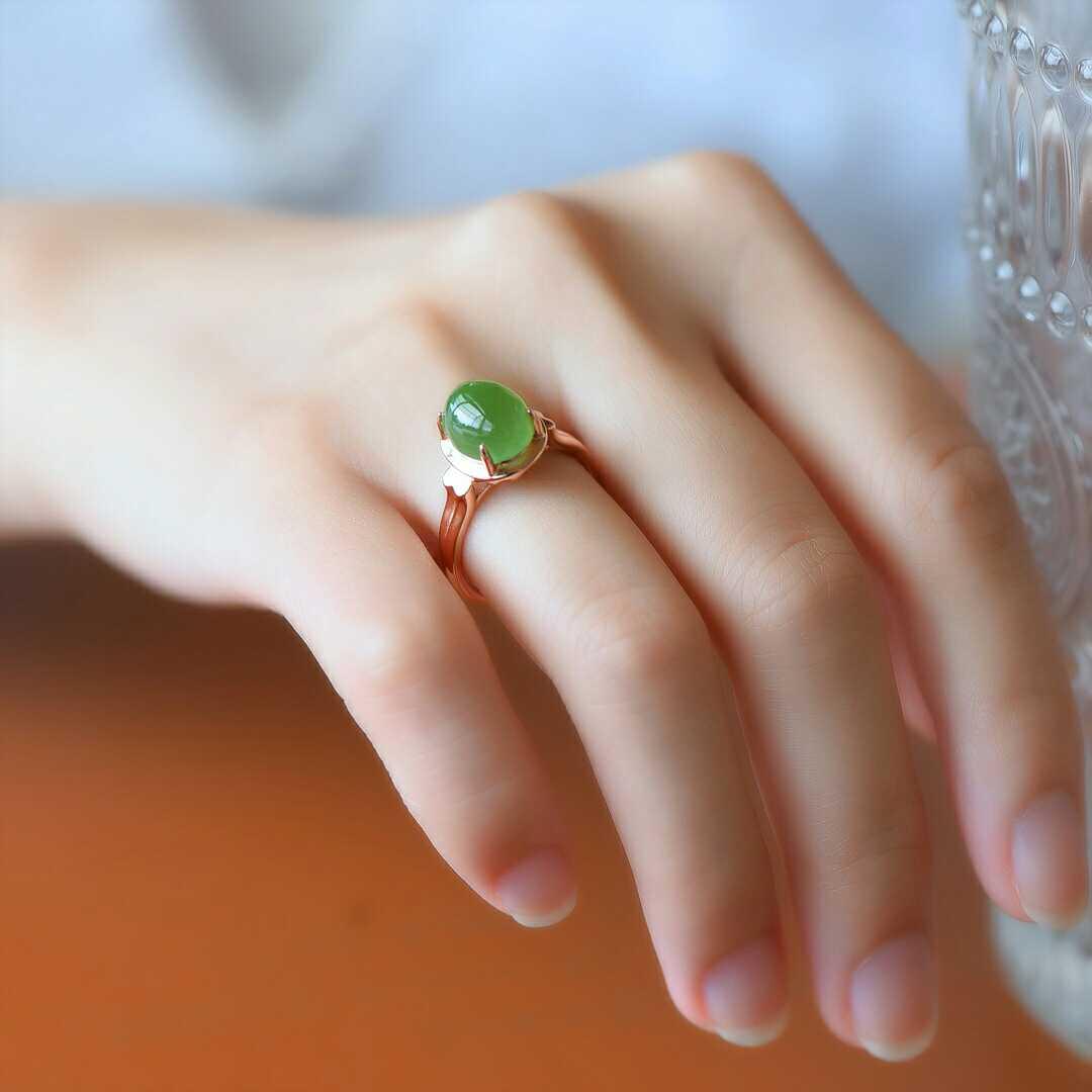 真玉天然和田玉碧玉戒指女款925银碧玉指环戒面女子钻戒指送证书