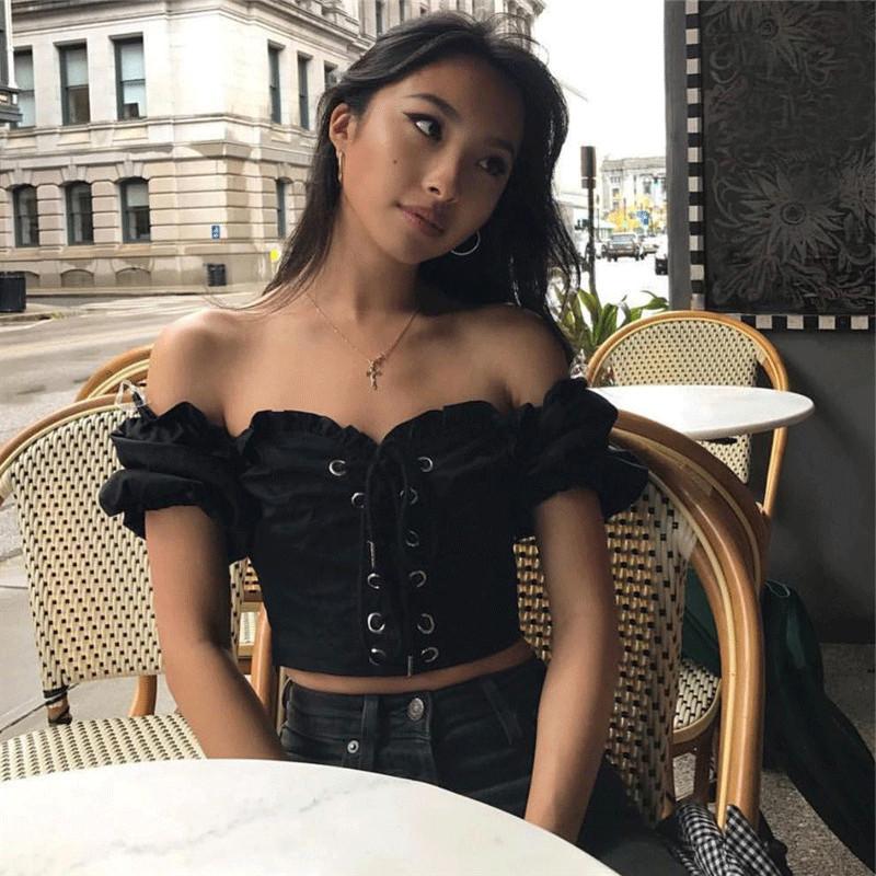 短袖女2019新款夏季修身显瘦露脐一字肩胸前绑带半袖T恤上衣潮图片