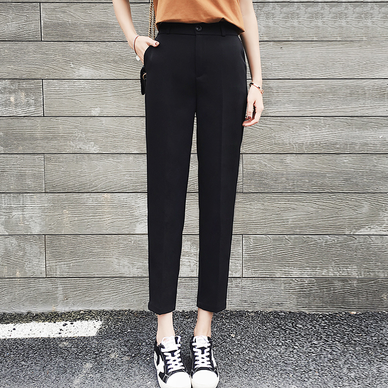 Wool wide leg pants womens new autumn and winter high waist loose nine point straight tube drop feeling black casual suit pants