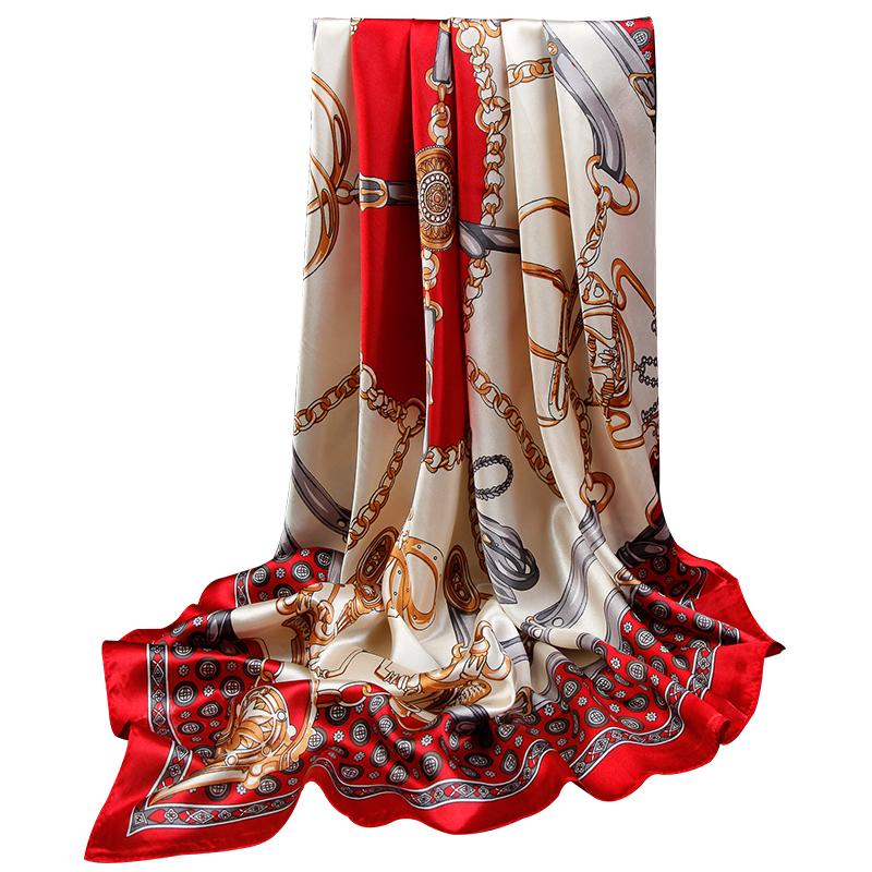 上海故事 丝巾搭配衬衫仿90x90cm真丝大方巾四方小围巾女夏季披肩