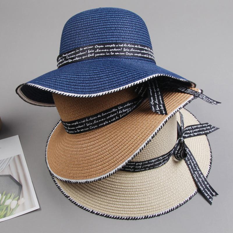 2020年新款春秋帽子女百搭草编帽时尚洋气适合短发遮阳帽夏季防晒