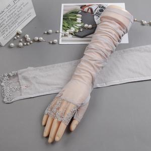 夏季袖子套防晒手袖蕾丝手套护臂胳膊套开车超薄冰丝手臂套女冰袖