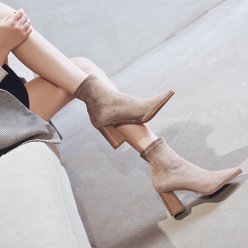 粗跟弹力短靴春秋冬裸靴高跟鞋女靴单靴新款百搭网红瘦瘦袜靴2019