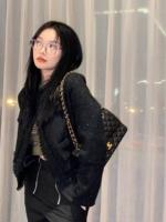 查看HGOFFICIA小香风夹克女2020年秋冬新款粗花呢亮丝西装短外套百搭价格