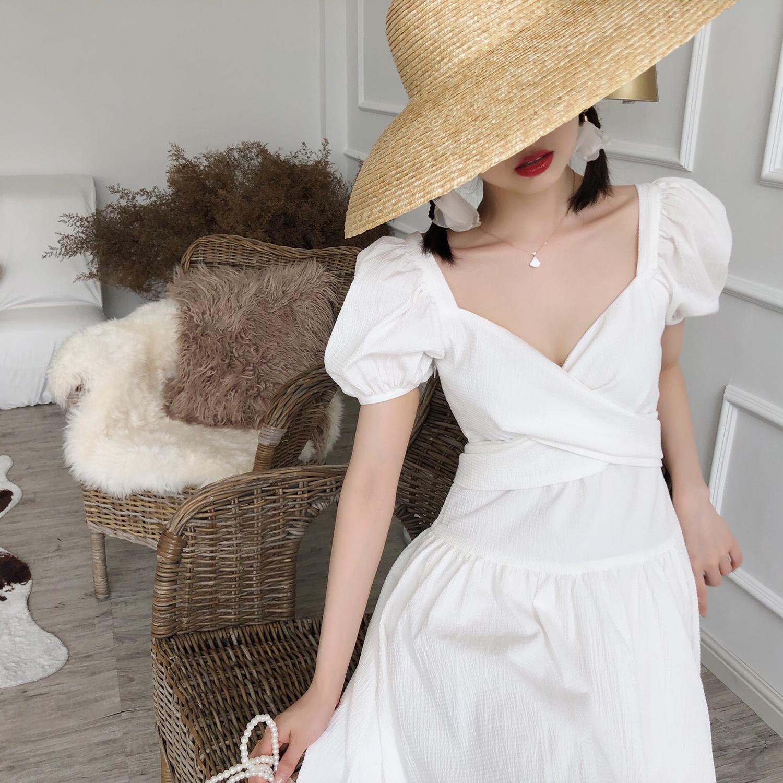 限时秒杀DAC复古法式泡泡袖气质收腰白色连衣裙超仙女长款裙子2019新款夏